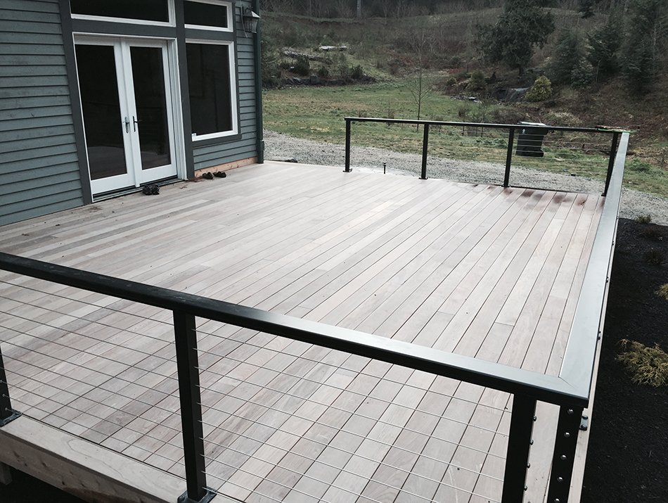 hardwood deck with cable railing