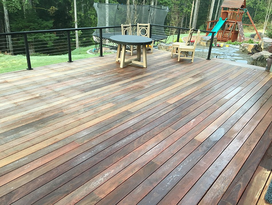hardwood decking with cable railing