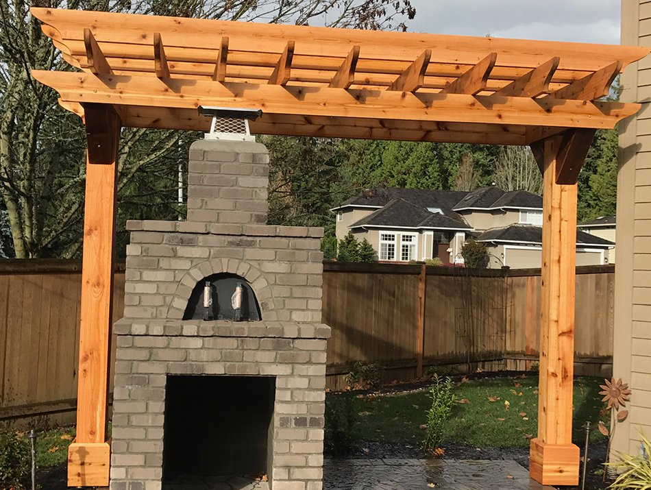 trellis over a fireplace in seattle by master decks, llc